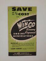 WINCO GENERATORS vintage Brochure Mechanical ENGINE 1950s
