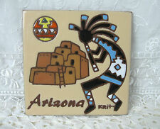 Kokopelli  Arizona Vintage Earthtones Ceramic Art Tile or Trivet Signed Krit