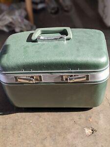 Train Case Makeup Sage Green Vintage silk Lined
