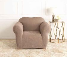 Mushroom | 1 Seater Surefit Stretch Slipcover Jacquard Damask Sofa Couch Cover