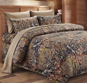 NATURAL BROWN 1p CAMO Full Queen COMFORTER : CAMOUFLAGE WOODS CABIN TREE HUNTING