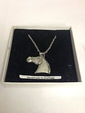 Horse Head E10 Horse & Equestrian Emblem on Silver Platinum Plated Necklace 18""