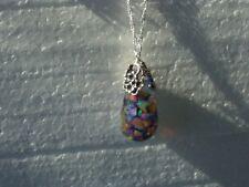 Opal Necklace Fiery Australian Opals Floating Opal Pendant 925