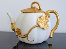 ROYAL WORCESTER PORCELAIN ANTIQUE 1890'S TEAPOT WITH APPLIED GOLD LEAVES