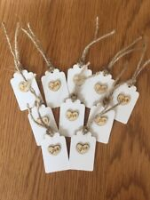 "10 kraft ""love""  White Gift Tags- Handmade Vintage Style,wedding,birthday"