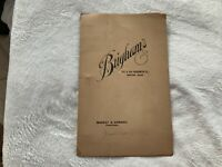1906 Brighams Hotel Restaurant Menu 642 & 644 Washington Street Boston Ma