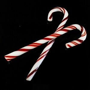Glass Candy Canes -2 Pack- Hand Blown Glass Candy Canes w/ Gift Box Storage Box
