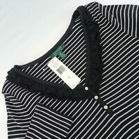 NWT Womens Polo Lauren Ralph Lauren Black Striped Shirt Size Large L 3/4 Sleeve