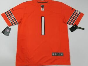 Justin Fields #1 Chicago Bears Adult Game Limited onfield Jersey Orange