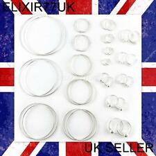 925 STERLING SILVER HOOP SLEEPER EARRINGS 8-70mm SMALL LARGE RING NOSE SET SOLID