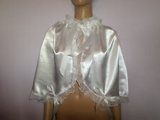 ADULT BABY  WHITE  SATIN SISSY  CAPE  FRILLY  SATIN TIES + BOWS WHITE LACE TRIM