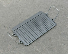 Cast Iron BBQ Plate w/ Handle Barbecue Griddle Grill Camping Cookware