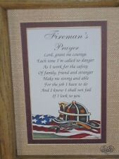 "Fireman's Prayer Firefighter Wall Decor Plaque Sign Matted 9"" x 7"" New with Box"
