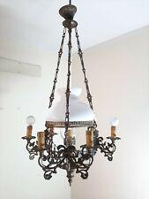Antique Vintage Brass Glass chandelier 7 Light Lamp