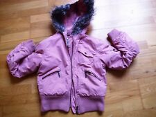 Ladies MISS POSH winter hooded bomber jacket with fur fit size 8 vgc dusty pink