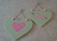Wall Hanging Plaques w/ Crystal Ribbon 2 Pink Heart & Flower Girl's Room Decor