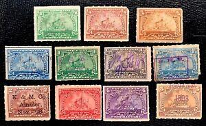 1898 US Stamps SC#RB20 - RB28, RB30-RB31 Revenue BattleShip Used