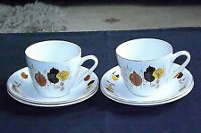Vintage Autumn Leaf Design Cups x 2 and Saucers x 4 by H. Aynsley & Co. Ltd