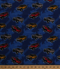 General Motors Hummers SUVs Tire Tracks Blue Cotton Fabric Print by Yard D658.17