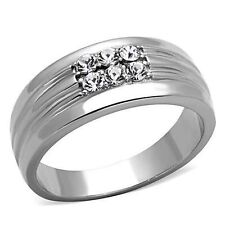 Stainless Steel Band CZ Rings for Men
