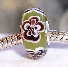 Olive Green Brown Flowers Single Core Glass Bead for European Charm Bracelets