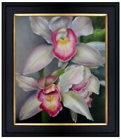 Framed, Red/Pink Orchids, Quality Hand Painted Oil Painting 20x24in