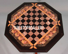 15'' Brown Marble Top Coffee Chess Board Table Inlay Mosaic Outdoor Decor H3238
