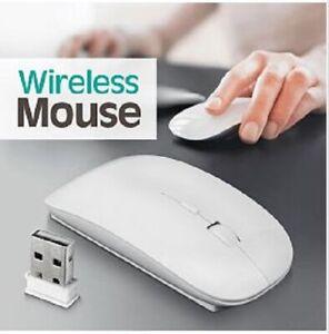 White Ultra Slim Thin Wireless Mouse Mice for PC Laptop Windows Apple Macbook