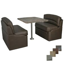 """RV 38"""" Chestnut Dinette Booth Set Luna Imperial Dining Table Seating Furniture"""