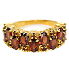 NATURAL AAA DRAK ORANGER RED GARNET OVAL & ROUND STERLING 925 SILVER RING 7.75