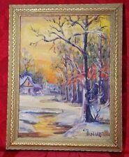 Original Emily EM Dillard (1879-1968) Texas Oil Painting Trees Landscape & House