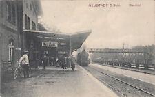AK Postkarte Neustadt Oberschlesien Bahnhof Schlesien Eisenbahn LOK - gel.  *109