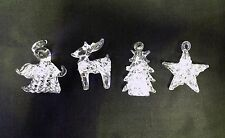 4 Different Hanging Glass Christmas Tree Decoration Vintage Glass Ornament