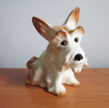 """Sylvac Scottie Dog Figurine 1295 Brown White Terrier Label 5"""" England"""