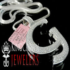 Real 14k White Gold On Silver Micro Pave Simu Diamond Initials Letter G Pendant