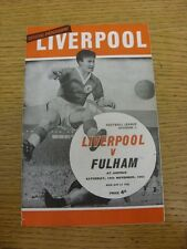 16/11/1963 Liverpool v Fulham  (Crease, Folded, Small marks & Score Noted On Bac