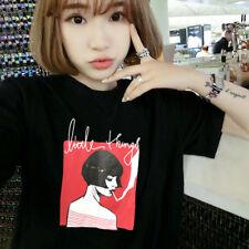 Women Harajuku T-shirt Print Graphic Shirt Short Sleeve Blouse Loose Tops White