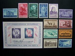 US STAMPS 1956 YEAR COMPLETE SET, SCOTT # 1073-1085. OG., MNH