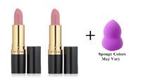 Revlon Super Lustrous Lipstick, Pink Pout, 0.15 oz (2 Pack) + Makeup Sponge