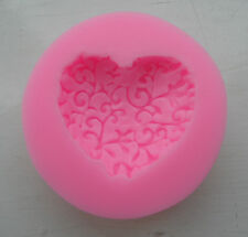 """HEART FLORAL LACE"" SHAPE SILICONE MOULD FONDANT  CAKES SOAP CANDLES DECORATION"