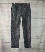 Curves 360 by NYDJ Womens Pants Sz 6 Gray Snakeskin Print Mid Rise