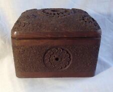 WW2 Royal Artillary Anglo-Indian Ornate Carved Wood Hinged Cigarette Box