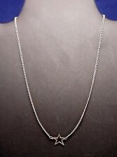 """Vintage Open Star Necklace - Silver Tone - 15 1/2"""" - 1980's - 90's"""