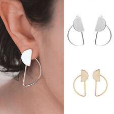 Women Fashion Ear Stud Gold Silver Plated Oval Shaped Dangle Earrings Jewelry
