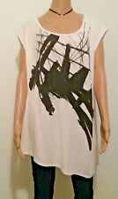 6th LANE TUNIC TOP BLOUSE ASYMMETRICAL Sz 18/20 BLACK DESIGN IVORY MODAL/SPANDEX