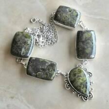 "Handmade Phyolite Rainforest Jasper 925 Sterling Silver Necklace 17"" #N01936"