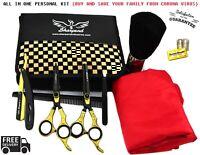 Hair Cutting Shears Scissors Thinning Kit Hairdressing Salon Cape Barber Set 9PC