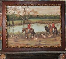 Vintage oil on canvas horse and hound fox hunt Signed Cook 70x60cm ex 56x46cm