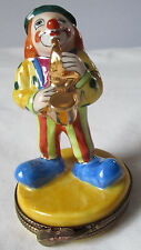 LIMOGES FRANCE PEINT MAIN MUSICIAN CLOWN PLAYING SAX PORCELAIN TRINKET BOX NEW
