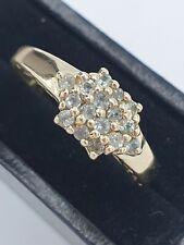 9ct Yellow Gold Green Amethyst  Prasiolite Cluster Dress Ring Sz N.5 #491